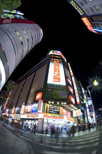 Shinjuku, Tokyo, Japan. Night in Shinjuku. BicCamera Japan Lights Motion Blur Nightphotography Shinjuku Group Of People Night People