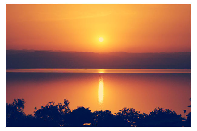 In the lowest point on earth = -370m below sea level Beauty Deadsea Nature, Oragne Reflection Sun Sunset