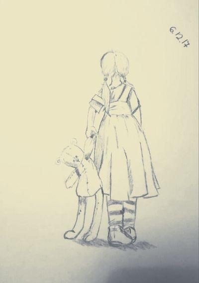 Littel Girl EyeEm Cute My Draw Drawing Bear Toy Cute Drawings EyeEm Foto Art Black & White Pencil Drawing Beautiful