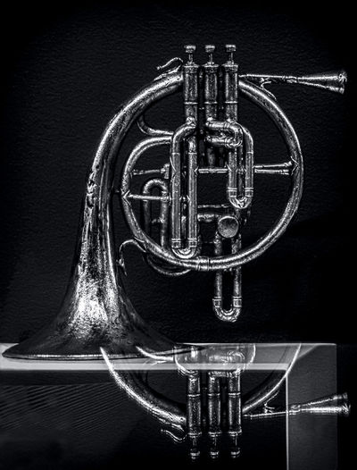 French Horn beyond a Glass Table Architectural Feature Architecture Black & White Black And White Black And White Photography Blackandwhite Blackandwhite Photography Blackandwhitephotography Chiaroscuro  Close-up Diminishing Perspective French Horn Full Frame Geometric Shape History Metal Music Musical Instrument Musical Instruments No People Ornate Reflection Still Life Still Life Photography The Past
