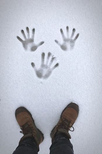 Shades Of Winter Human Body Part Standing One Person Personal Perspective Shoe Cold Temperature Day One Man Only Human Hand Real People Low Section Palm Outdoors Only Men Close-up People Adult Adults Only Light And Shadow Wintertime Snowing Snow Day Snow Covered Snow ❄