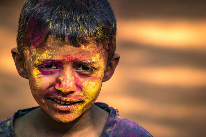 Happy holi.. Kid Portrait Outdoors Kids Colours Happy Close-up Holi