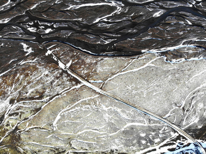 Drone photography of glacier rivers in iceland.