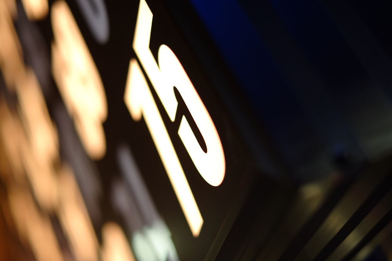 Low Angle View Of Illuminated Numbers