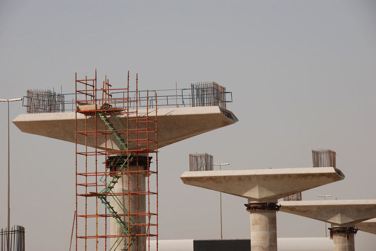 Architecture Built Structure Sky Nature No People Building Exterior Day Clear Sky Outdoors Metal Industry Water Copy Space Technology Low Angle View Development Communication Satellite Dish Railing Satellite Global Communications Construction Site Construction Public Transportation
