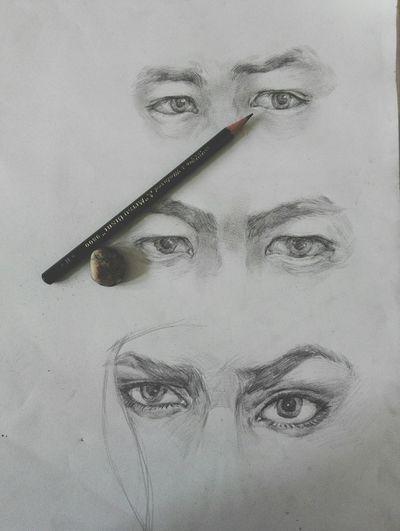 """一只h号的三菱铅笔,画shi我了= ̄ω ̄=(just""""H"""") Drawing Eyes"""