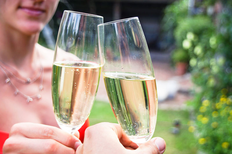 Cropped hands of friends toasting champagne flutes in yard