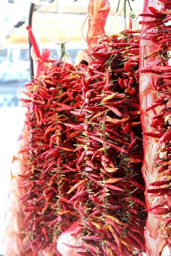 London Lifestyle Red Hanging Food Food And Drink Red Chili Pepper Large Group Of Objects For Sale Healthy Eating No People Freshness Close-up Outdoors Day