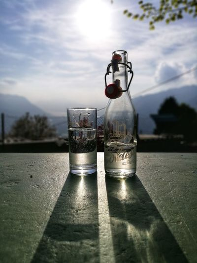 Gazosa Monti Di Ravecchia Ticino Switzerland Reflections Shadow Water Drink Drinking Glass Sky Close-up Cloud - Sky Food And Drink Long Shadow - Shadow Cold Drink Water Bottle