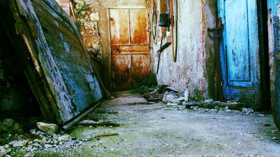 Abandoned door of old building