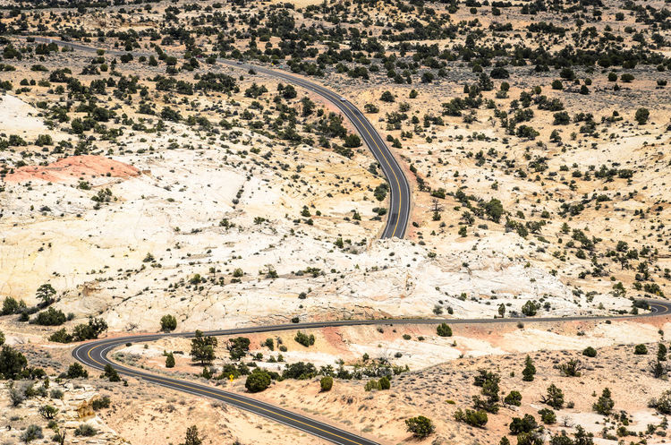 Desert Nature Road USA Utah Aerial View Arid Climate Climate Day Desert Environment Field High Angle View Highway 10 Land Landscape Mode Of Transportation Nature No People Non-urban Scene Outdoors Plant Road Scenics - Nature Semi-arid Transportation Travel Travel Destinations Winding Road