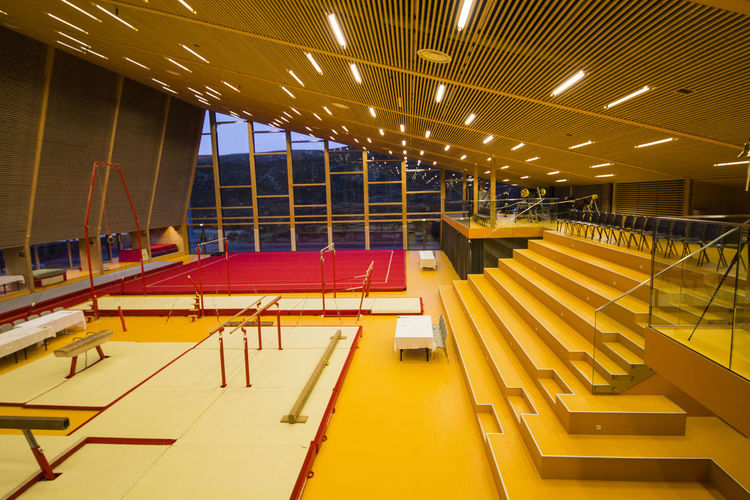 Empty seats in modern building