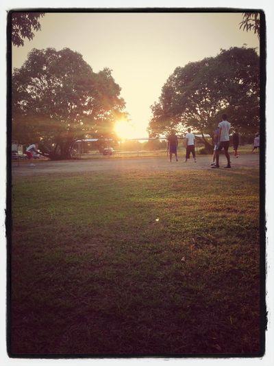 The boys playing football :)