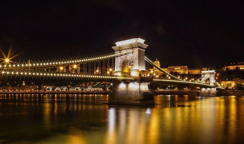 View of chain bridge at night