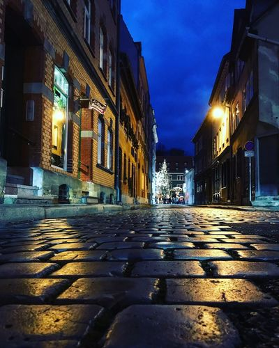 Street Paving Stone Houses Town Architecture Building Exterior Architecture Built Structure City Night Illuminated Street Road No People Residential District Wet Building
