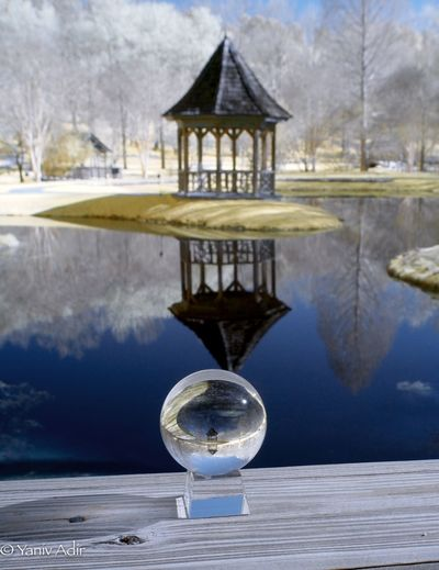 Gazebo Lensball Infrared. Lensball Infrared Lensball Photography Lensball Gibbs Gardens Olympus Infrared Olympus Pen Olympus Life Pixel Infrared Life Pixel Color Infrared Infrared Water Reflection Built Structure Architecture No People Day Nature Outdoors Sky Tree
