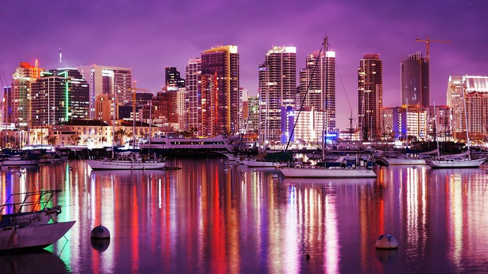 San Diego Harbor After Dark Illuminated Reflection City Skyscraper No People Outdoors Night Lights Night Photography Nightlife Nightscape Night View Night Shot Night City Nightview San Diego San Diego Bay San Diego, California San Diego Downtown Downtown Downtown District Waterfront Water Reflections Cityscape Water