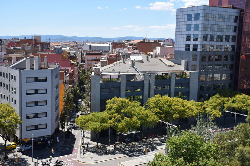 Office and apartments buildings in Barcelona city. Barcelona Architecture Building Building Exterior Built Structure City Cityscape Daylight High Angle View Outdoors Roof Street Sunlight Urban Landscape