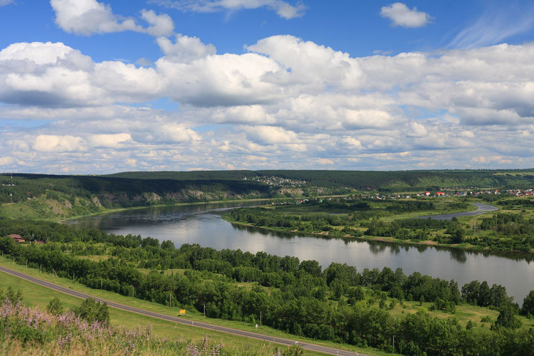 River Tom and Sukhovskoe lake. Beauty In Nature Cloud - Sky Day Environment High Angle View Landscape No People Non-urban Scene Outdoors Reflection River Scenics - Nature Siberia Sky Tranquil Scene Tranquility Water