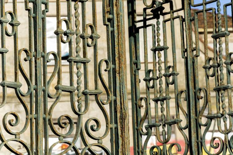 Full frame shot of old metal fence