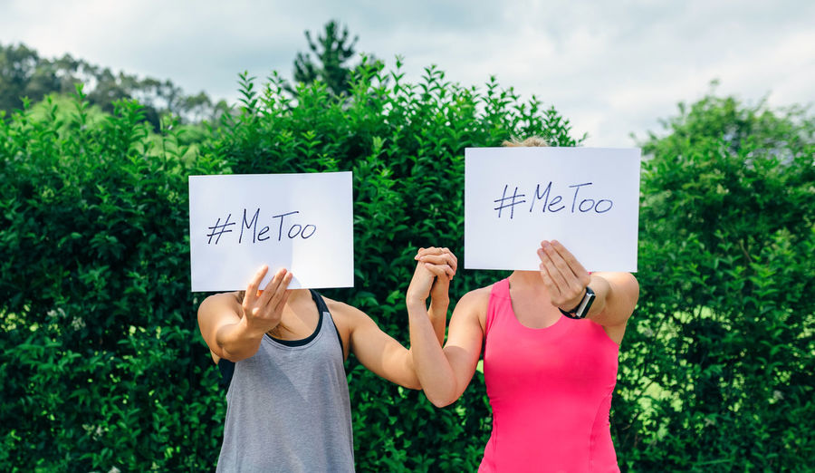 #Metoo Anonymous HASHTAG Horizontal Me Too Movement Poster Victim Abuse Assault Card Empowerment  Female Girl Hand Hastag  Holding Me Too Metoo Sexual Harassment Sports Clothing Two People Unrecognizable Person Violence Women Young Women