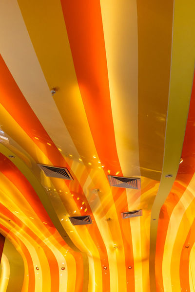 Ceiling Close-up Colorful Illuminated In A Row Indoors  Lighting Equipment Low Angle View Modern Multi Colored No People Order Vibrant Color Yellow
