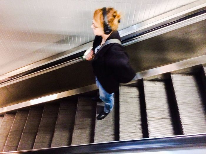 Escalator Taking Photos Public Transportation IPhoneography