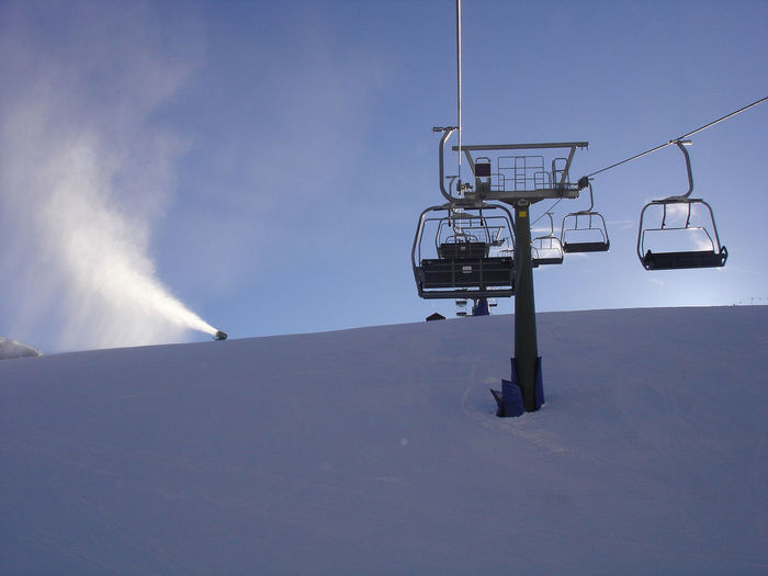 Low angle view of ski lift against sky