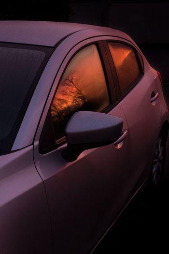 🔥 Reflection Sunset Car Motor Vehicle Mode Of Transportation Land Vehicle Transportation Close-up Orange Color Red Capture Tomorrow
