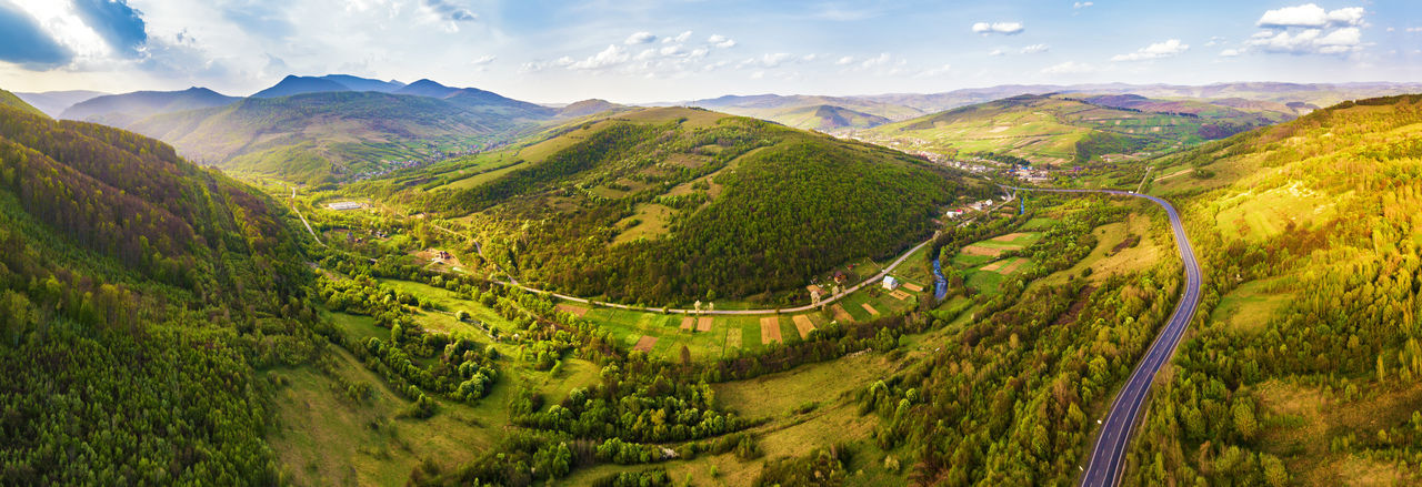 Scenics - Nature Mountain Beauty In Nature Environment Landscape Tranquil Scene Tranquility Sky Non-urban Scene Green Color Nature Plant Mountain Range No People Day Tree Cloud - Sky Land Road High Angle View Outdoors Mountain Road Road Village Carpathians Spring Summer Trip Vcation