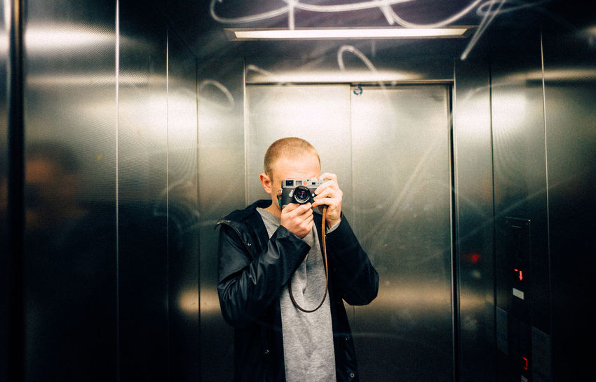 Boy Camera Elevator Equipment Fashion Guy Indoors  Leica Me One Person People Photographer Selfie Technology