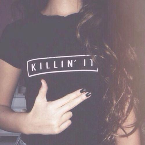 Shirt Girl Black Vintage Nails Brunette KillinIt Hair