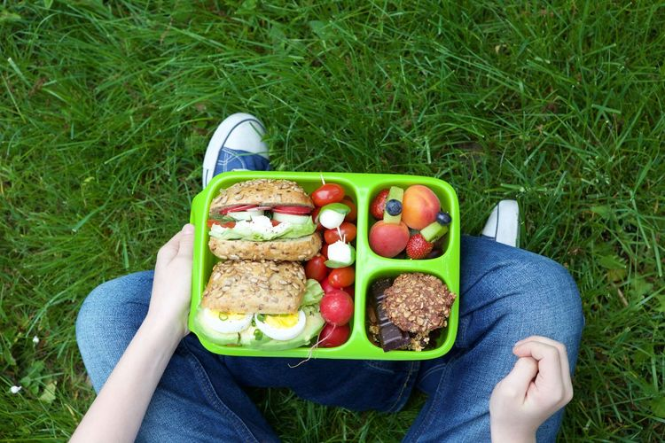 Composition Food Freshness Fruit Green Color Healthy Eating Healthy Lifestyle Lunchbox Preparation  SLICE Vegetable