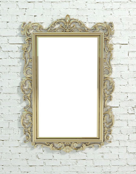 Decorated gold frame on white painted brick wall Frame Decorated Gold Product Photography Mirror Classic Baroque Artistic Déco Metal