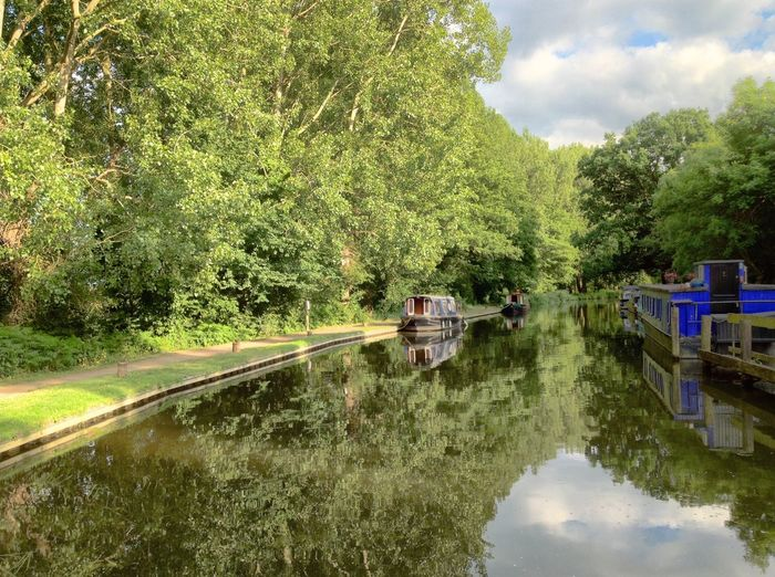 A boat on an English canal. Canal Boat Narrowboat England Leisure Landscape Vacation