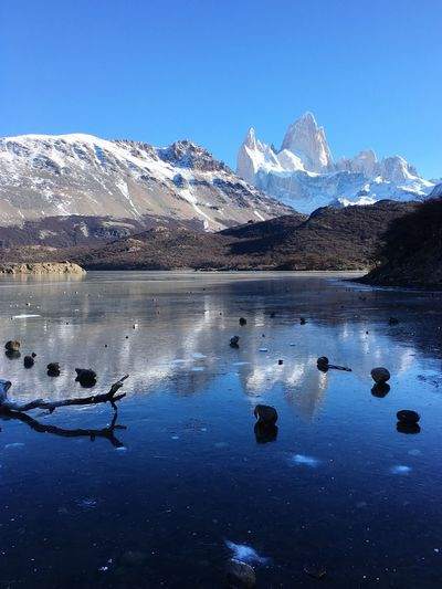 Snow Mountain Winter Cold Temperature Lake Tranquil Scene Water Tranquility Mountain Range Clear Sky Scenics Snowcapped Mountain Landscape Beauty In Nature Frozen Lake Non-urban Scene Nature Idyllic Water Reflections Majestic Blue Color Fitz Roy Mountain Patagonia Argentina El Chalten Argentina