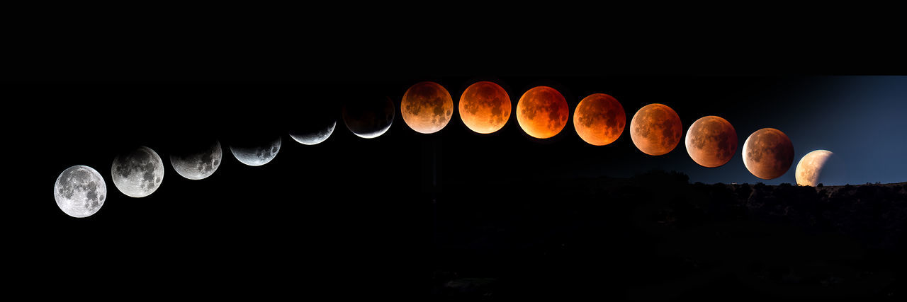 Once in a blue blood super moon! 2018 Full Moon January Lunar Eclipse Moon Panorama Planetary Moon Super Astronomy Blood Blue Composite Crater Full Eclipse Low Angle View Moon Moon Rise Moon Set Night Orange Color Path In Nature Sequence Sky Space Super Blue Blood Moon