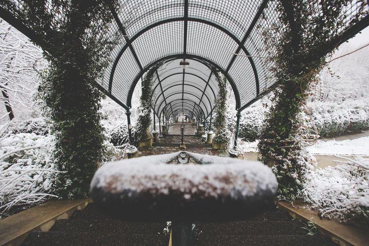 Jardin de Belleville sous la neige Water Architecture Day Built Structure Indoors  No People Industry Greenhouse