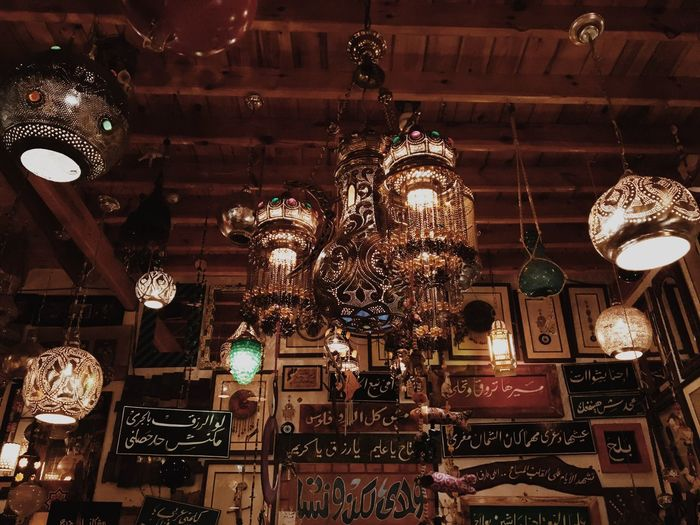 Hanging Ceiling Lighting Equipment Large Group Of Objects No People Thisisegypt