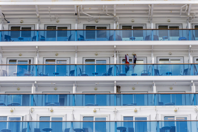 Full frame shot of balcony on cruise ship