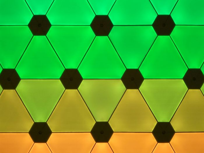 Textured  Textures and Surfaces EyeEm Selects EyeEm Best Shots Multi Colored Ilumination Inside No People Backgrounds Wallpaper Green Orange Color Science Colored Background Abstract Close-up Hexagon Geometric Shape Shape Full Frame Backgrounds Abstract Backgrounds Symmetry Triangle Shape Honeycomb Repetition Pattern