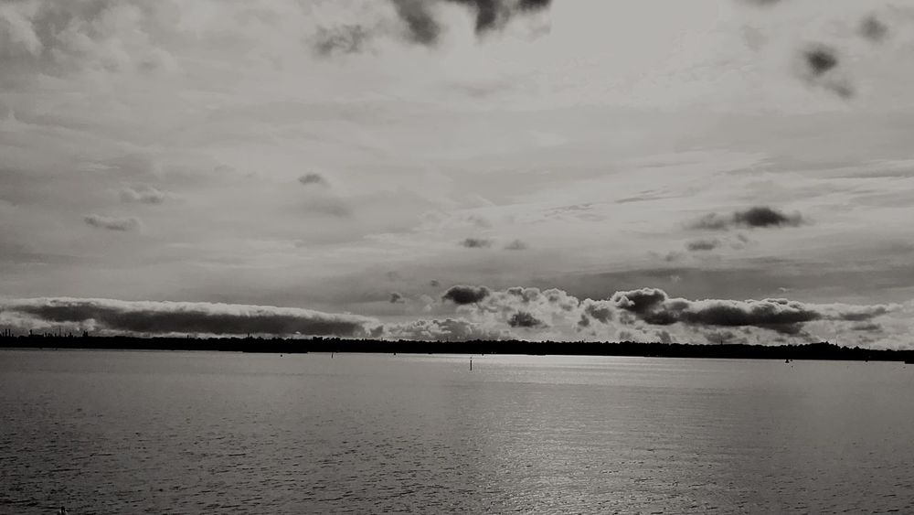 Clouds over water. Water Sky No People Beauty In Nature Blackandwhite Landscape Outdoors Nature Clouds And Water