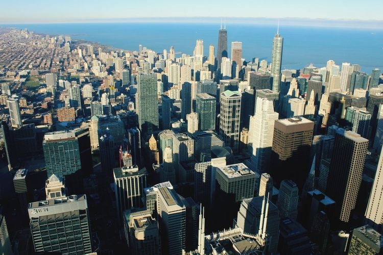 EyeEm Selects Chicago Skyscraper Cityscape Urban Skyline City Travel Destinations Architecture Office Building Exterior Aerial View High Angle View Building Exterior Outdoors Modern City Life Day Sky No People Downtown District Business Finance And Industry