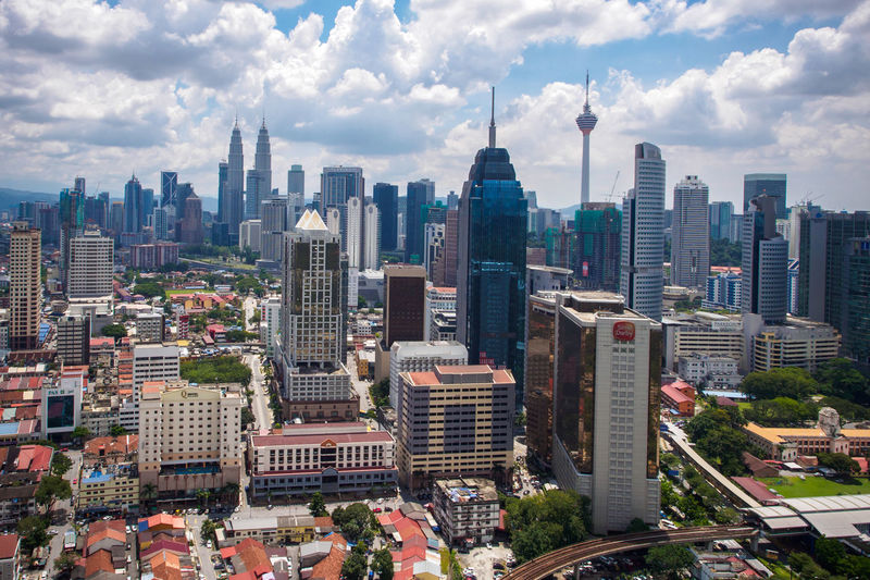 City skyline Kuala Lumpur Aerial View Architecture Building Exterior Built Structure City Cityscape Day High Angle View Malaysia Modern Outdoors Sky Skyscraper Tower Travel Destinations Urban Skyline
