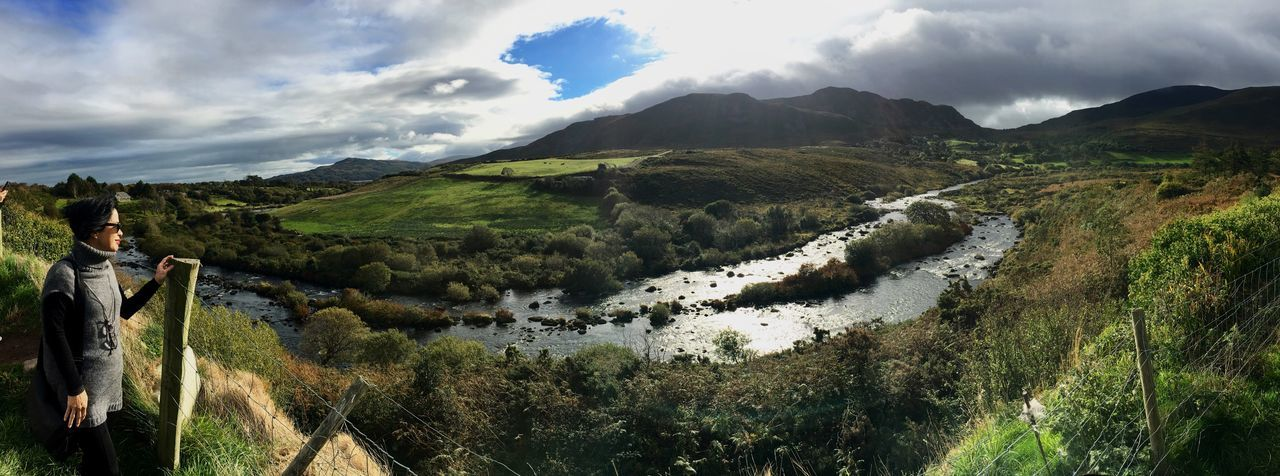Caragh Bridge, County Kerry, Ireland Ring Of Kerry County Kerry Vacations Light Tourism Travel Tourist Ireland Cloud - Sky Sky Mountain Beauty In Nature Scenics - Nature Tranquil Scene Tranquility Nature Environment Mountain Range Growth Idyllic Green Color Water