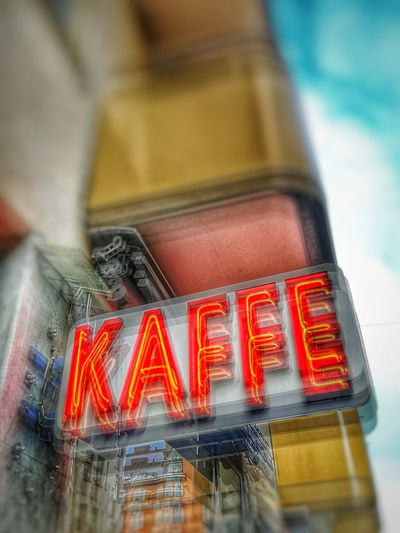 Red Sign Neon Kaffe Coffee Cafe Dubleexposure Motion Blur Close-up No People Indoors  Day