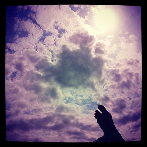 Piede Cielo Azzurro Nuvole
