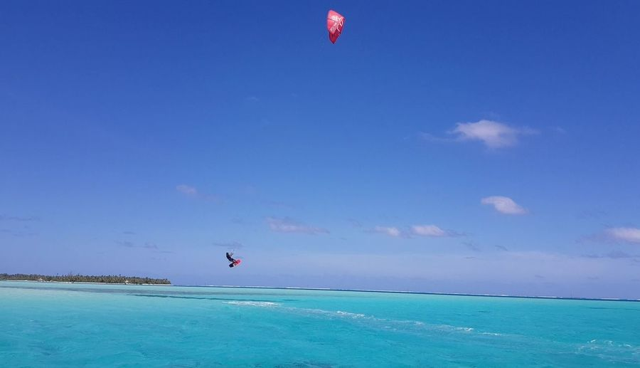 Sea Sky Water Blue Nautical Vessel One Person Horizon Over Water Skite Surf French Polynesia Island Tourism Travel Destinations Lost In The Landscape