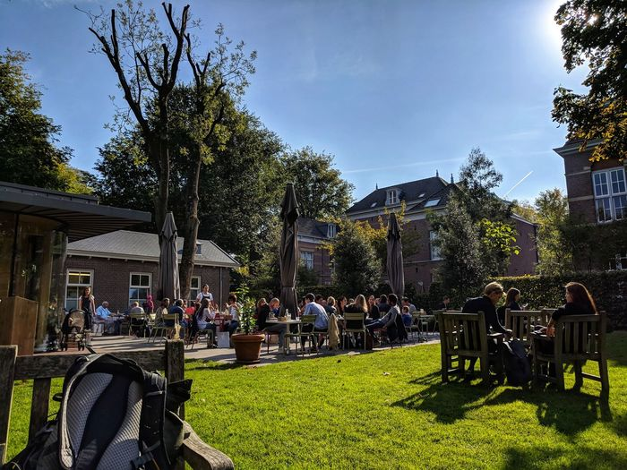 Absolutely splendid breakfast spot with an area to chill afterwards. Tree City Shadow Sky Grass Park - Man Made Space Park Bench Growth Outdoor Play Equipment Bench Growing