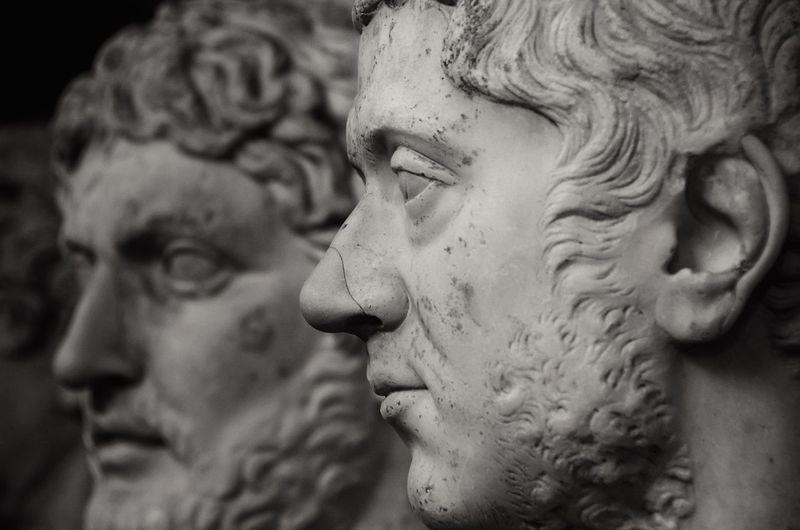 Some rich Roman dudes in the Vatican Museum Statue Marble Sculpture Bust  Portrait Roman Ancient Classical Art ArtWork Historic History Monochrome Profile Men Blackandwhite Black And White Black & White Italy Museum